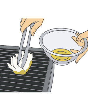Illustration of oiling the grill grate