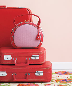 Red leather suitcases stacked - Landscape