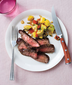 Steak With Summer Squash and Pine Nuts