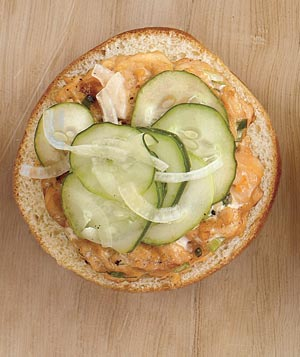 Salmon Burgers With Quick Pickled Cucumbers
