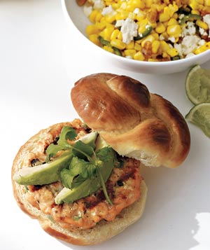 Salmon Burgers With Corn Salad