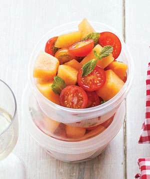Tomato and cantaloupe salad