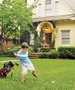 Encourage a future Tiger Woods to practice hitting it out of the rough (and away from the house!).