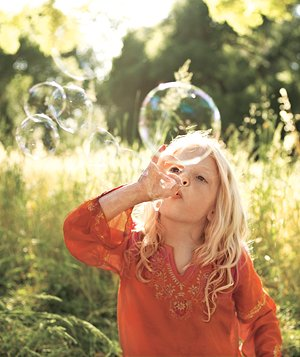 Make gorgeous bubbles without a wand: Form an OK sign, submerge fingers in bubble solution, and blow gently.