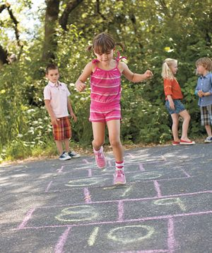 Grab some sidewalk chalk and draw a hopscotch court that you can jump along on too.