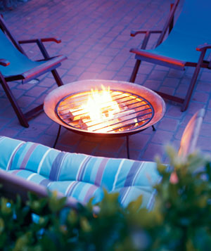 Fire pit on an outside brick patio