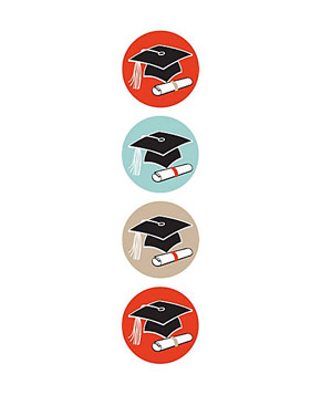 Graduation Circle Stickers