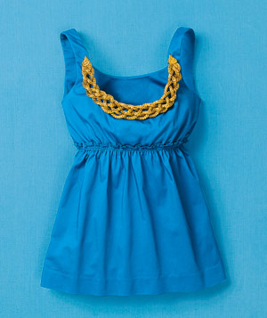 Blue scoop-neck tank top with gold embellished neckline
