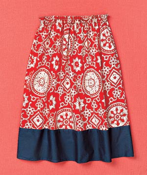Red patterned summer skirt