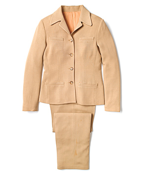 Boxy tan traditional pantsuit