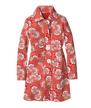 Knee-length red and white floral coat