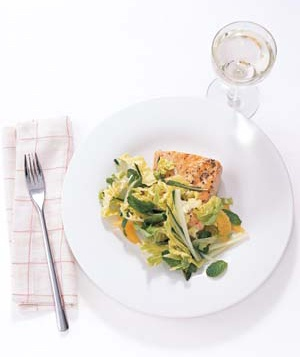 Glazed Salmon With Mint and Cucumber Slaw