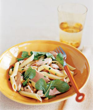 Penne with Salmon, Arugula, and Chives