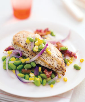 Sauteed Chicken With Corn and Edamame