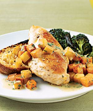 Sauteed Chicken With Sweet Potatoes and Pears