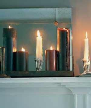 Candles along a mantle
