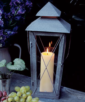 Burning candle in a lantern