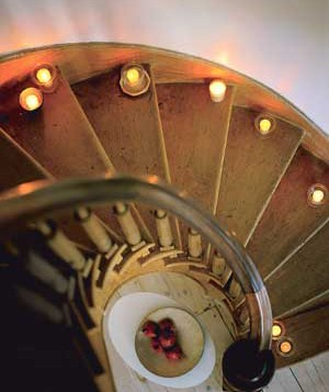 Candles on a spiral staircase
