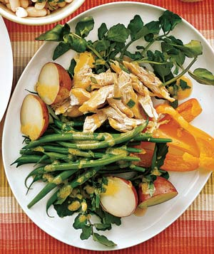 Chicken Salad With Green Beans, Potatoes, and Peppers