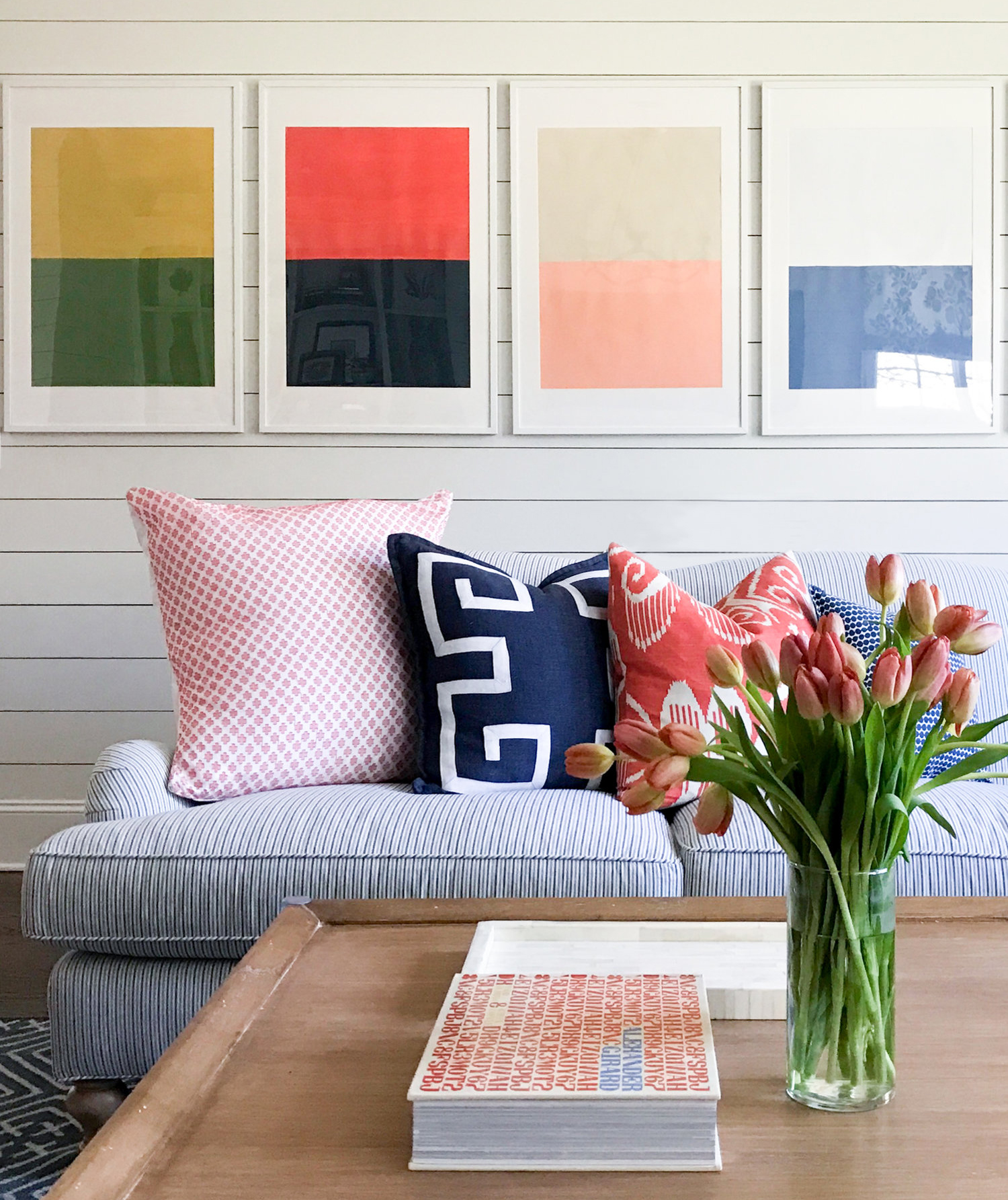 Invest a couch with a modern, informal sensibility by tossing on odd number of throw pillows. For something more traditional, do an even number.
