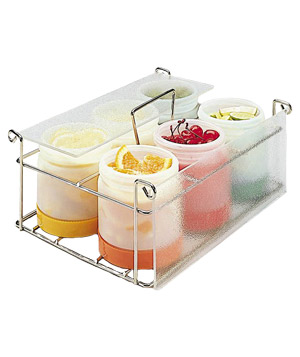 Store N Pour Chrome Plated Condiment Caddy with clear frosted cover