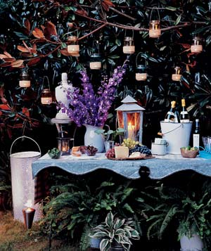 outdoor table lighting ideas. backyard lit with torches and candles outdoor table lighting ideas