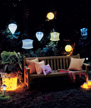 Backyard lit with colorful solar lighting