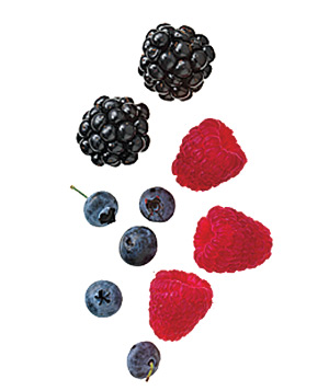 Blueberries, blackberries, raspberries
