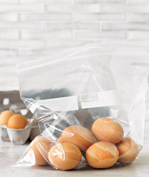 Eggs in a plastic ziplock freezer bag