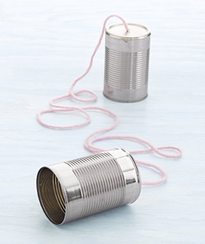 Two tin cans and a string telephone