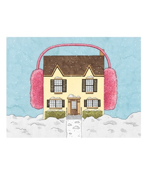 House with earmuffs illo