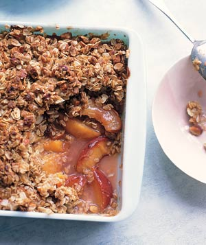 Easy but impressive, this dessert starts with fresh peaches, then layers on an almond-and-oat mixture, all baked to golden perfection.