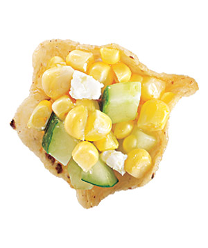 Corn, Cucumber, and Goat Cheese Canapes