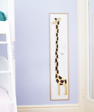 Giraffe height chart in child's bedroom