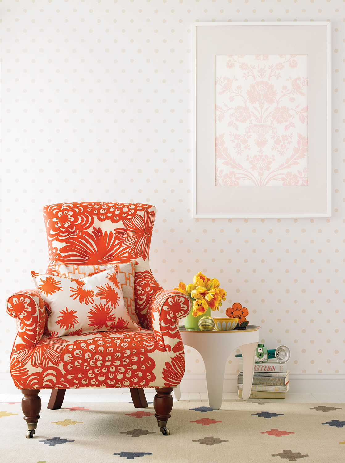 Floral patterns in a living room