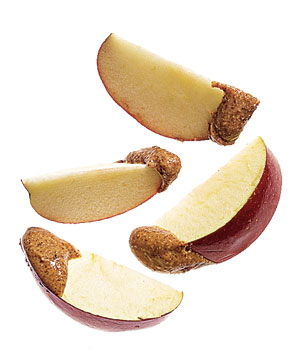 Apple sliced with almond butter