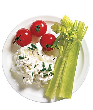 Low-fat Cottage Cheese With Chives and Pepper, plus Celery and Cherry Tomatoes for dipping