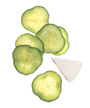 Sliced Cucumbers and Light Swiss Cheese
