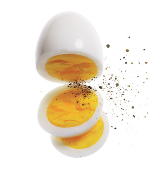 Hard-boiled egg with black pepper