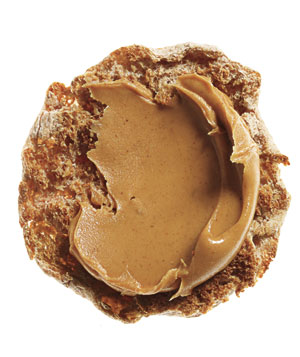 Whole-wheat English muffin with peanut butter
