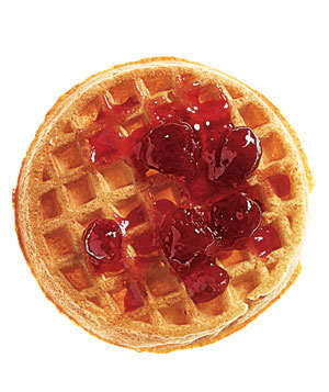 Van's All-Natural Multigrain Waffle with fruit preserves, one of Real Simple's favorite healthy snacks.