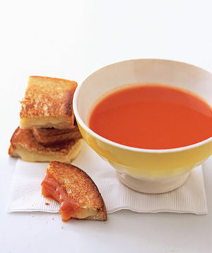 Grilled-cheese bites with tomato soup