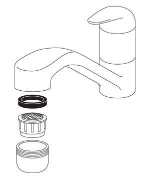 Faucet spout, washer, aerator and tip