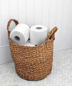 Toilet paper in a basket
