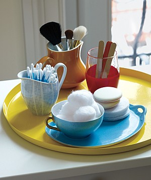 Toiletries in mismatched tableware