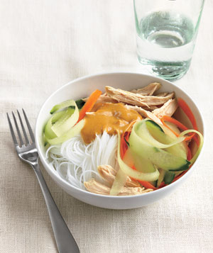 Peanut Butter And Chicken Noodles With Carrot Cucumber Ribbons