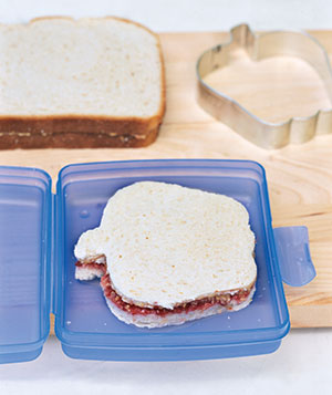 Peanut butter and jelly sandwich in a lunch box.