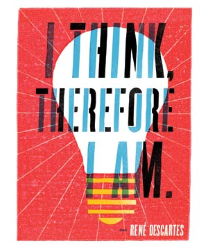 "Illustration of Rene Descartes' quote ""I think therefore I am"""