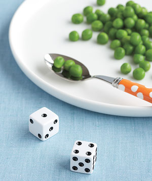 Dice with peas at dinner