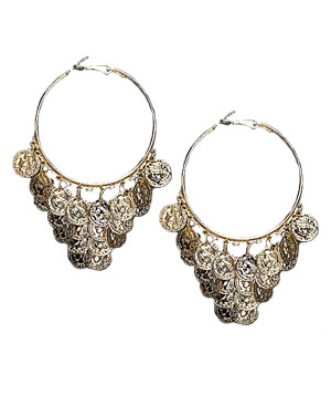 Cara Accessories Circle Coin Earrings